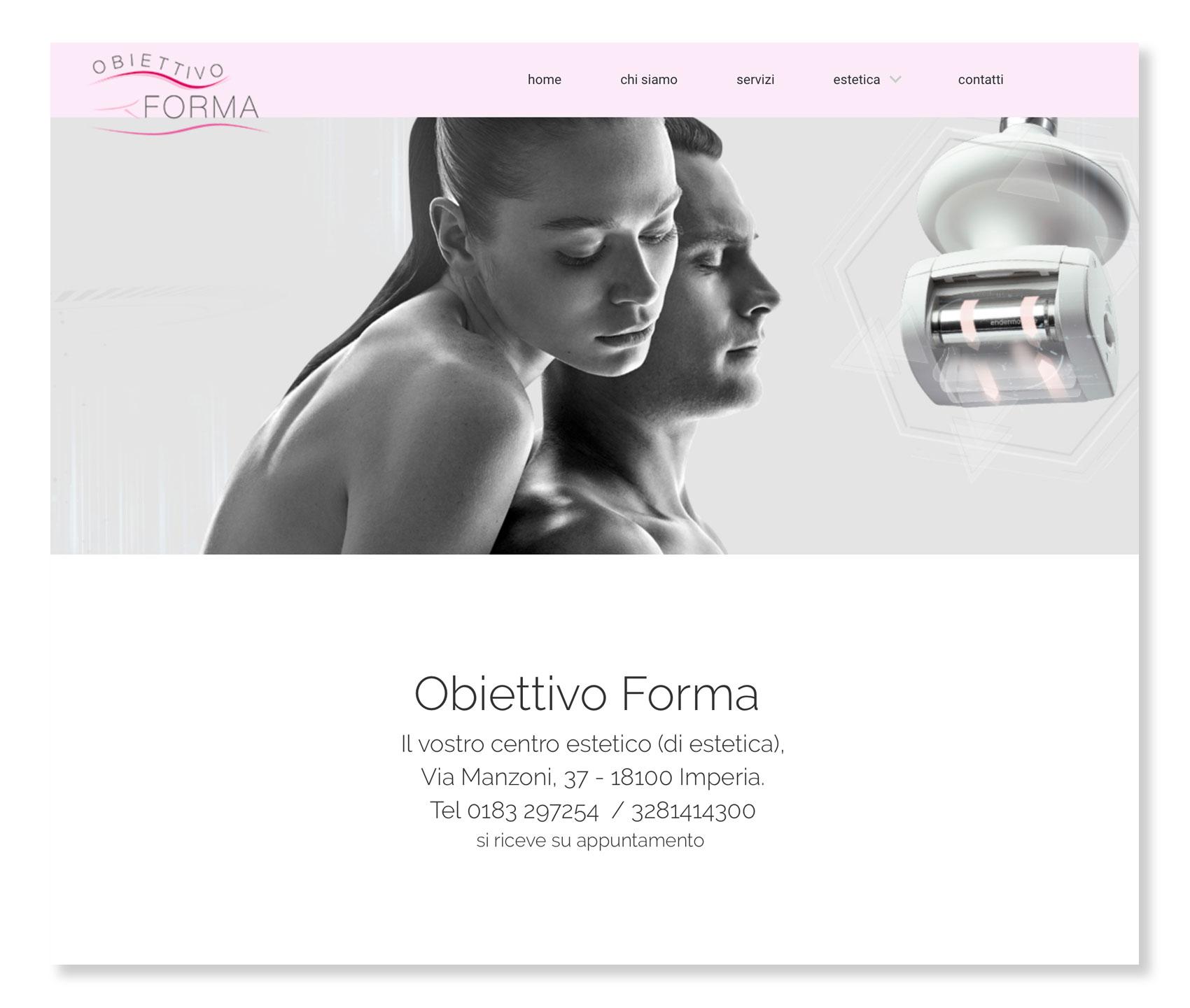 Obiettivo Forma, centre d'esthétique à Imperia (it) : Site réalisé par Pictopagina, création de sites internet à Gourdon