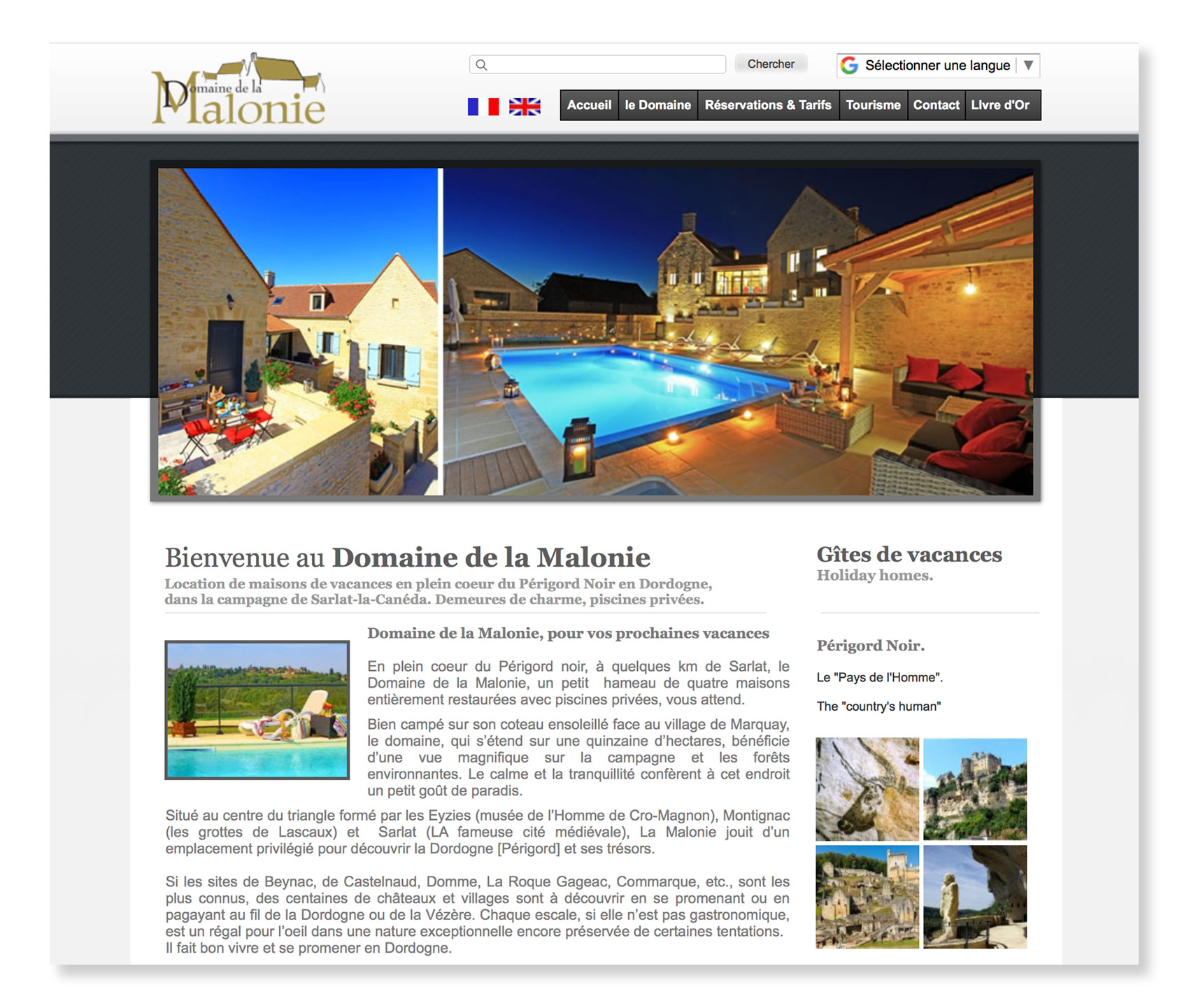 Domaine de la Malonie, Location de maisons de vacances en plein coeur du Périgord Noir en Dordogne : Site réalisé par Pictopagina, création de sites internet à Gourdon